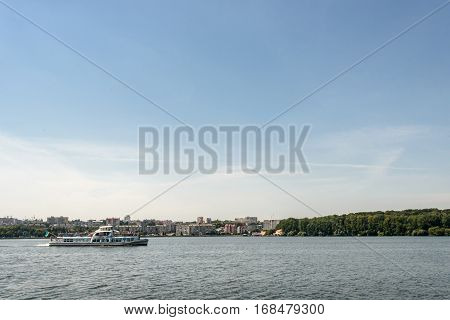 Luxury Cruise Liner Sailing At Sunny Lake At The City, Summer Vacation Concept