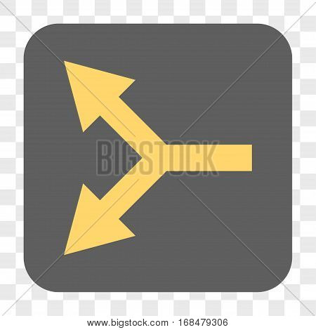 Bifurcation Arrow Left interface toolbar button. Vector icon style is a flat symbol in a rounded square button yellow and gray colors chess transparent background.