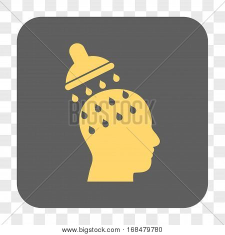 Brain Washing interface toolbar button. Vector icon style is a flat symbol on a rounded square button yellow and gray colors chess transparent background.