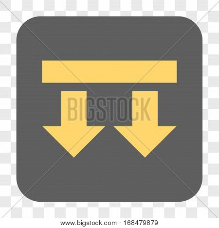 Bring Down interface toolbar button. Vector icon style is a flat symbol on a rounded square button yellow and gray colors chess transparent background.
