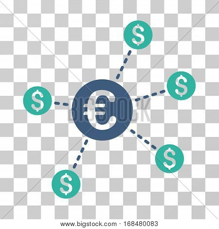Currency Network Nodes icon. Vector illustration style is flat iconic bicolor symbol, cobalt and cyan colors, transparent background. Designed for web and software interfaces.