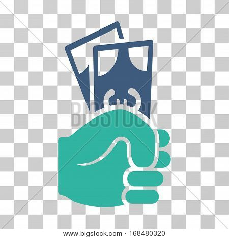 Euro Banknotes Salary icon. Vector illustration style is flat iconic bicolor symbol, cobalt and cyan colors, transparent background. Designed for web and software interfaces.