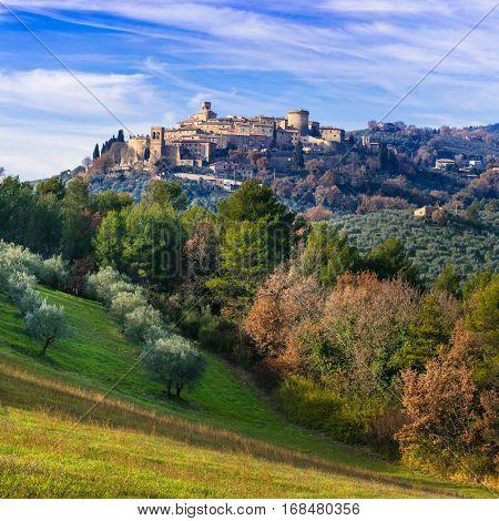 Authentic medieval village (borgo) Gualdo Cattaneo in Umbria, Italy