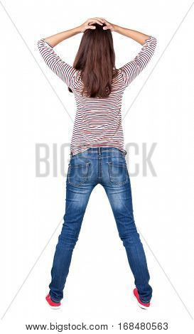 Back view of shocked woman. upset brunette girl put hands on head. Rear view people collection.  backside view of person.  Isolated over white background.