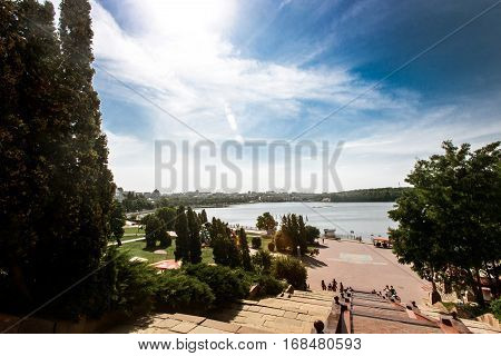Amazing Top View On City And Port Lake In Sunny Summer Time, Travel Concept