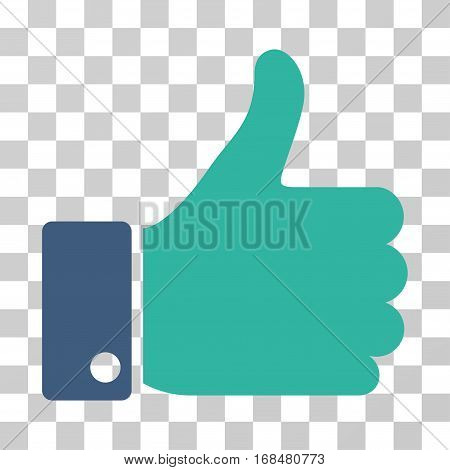 Thumb Up icon. Vector illustration style is flat iconic bicolor symbol, cobalt and cyan colors, transparent background. Designed for web and software interfaces.
