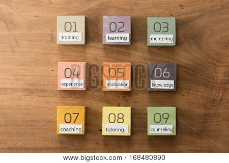 Human resource or eduction terms categorized on hand painted colored wooden cubes on grungy wooden background with vintage taste.