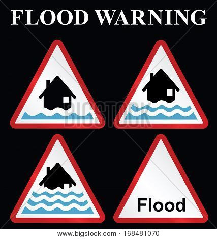 Flood alert flood warning and severe flood warning weather sign collection isolated on black background
