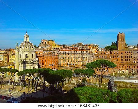 Market of Traiano seen from the capitol hill in Rome ruins of Roman Forum in Rome Italy