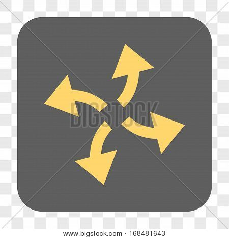 Centrifugal Arrows interface toolbar button. Vector icon style is a flat symbol inside a rounded square button yellow and gray colors chess transparent background.