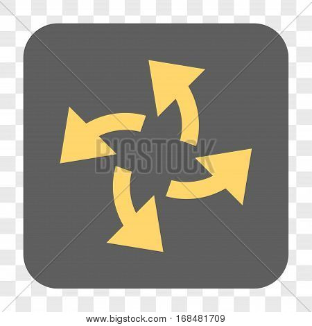 Centrifugal Arrows interface toolbar button. Vector icon style is a flat symbol in a rounded square button yellow and gray colors chess transparent background.