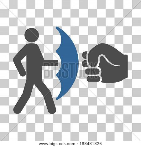 Crime Protection icon. Vector illustration style is flat iconic bicolor symbol, cobalt and gray colors, transparent background. Designed for web and software interfaces.
