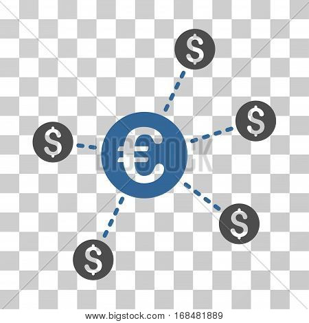 Currency Network Nodes icon. Vector illustration style is flat iconic bicolor symbol, cobalt and gray colors, transparent background. Designed for web and software interfaces.