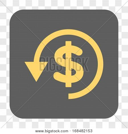Chargeback interface toolbar button. Vector icon style is a flat symbol on a rounded square button yellow and gray colors chess transparent background.