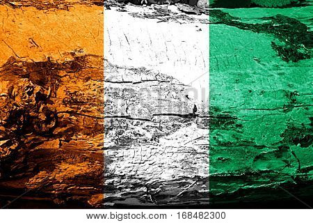 Ivory coast flag with grunge texture