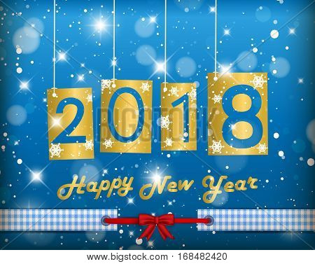 Happy New Year 2018 Blue Greeting Card