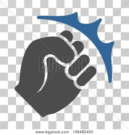 Fist Strike icon. Vector illustration style is flat iconic bicolor symbol, cobalt and gray colors, transparent background. Designed for web and software interfaces.