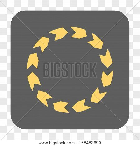 Circulation interface toolbar button. Vector icon style is a flat symbol in a rounded square button yellow and gray colors chess transparent background.