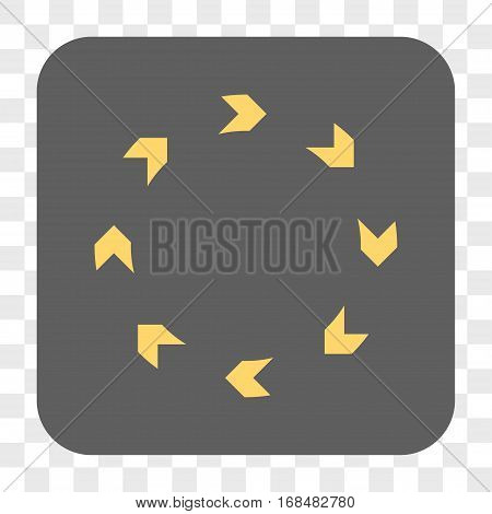 Circulation interface toolbar button. Vector icon style is a flat symbol on a rounded square button yellow and gray colors chess transparent background.