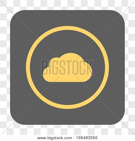 Cloud interface toolbar button. Vector icon style is a flat symbol on a rounded square button yellow and gray colors chess transparent background.