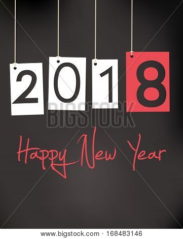 Happy New Year 2018 Black Greeting Card