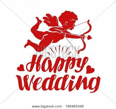 Happy wedding, greeting card. Flying angel, cherub or cupid with bow and arrow