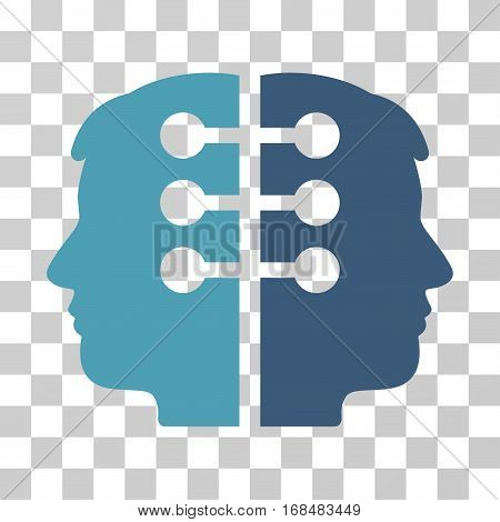 Dual Head Interface icon. Vector illustration style is flat iconic bicolor symbol, cyan and blue colors, transparent background. Designed for web and software interfaces.