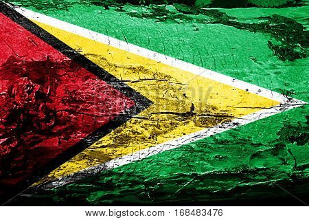 Guyana flag with grunge texture