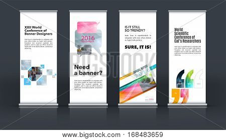 Mega set. Abstract business vector set of modern roll Up Banner stand design template with pink rectangles, triangles for exhibition, fair, show, exposition, expo, presentation, events.