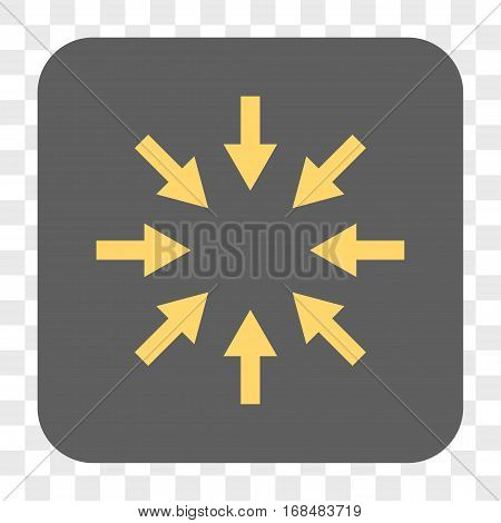 Compact Arrows interface toolbar button. Vector icon style is a flat symbol inside a rounded square button yellow and gray colors chess transparent background.