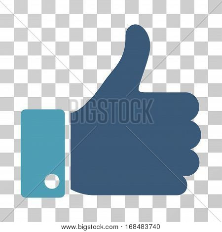 Thumb Up icon. Vector illustration style is flat iconic bicolor symbol, cyan and blue colors, transparent background. Designed for web and software interfaces.