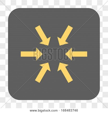 Compact Arrows interface toolbar button. Vector icon style is a flat symbol in a rounded square button yellow and gray colors chess transparent background.