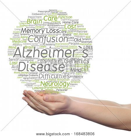 Concept conceptual Alzheimer`s disease symtoms abstract word cloud held in hands isolated on background metaphor to care, loss, caregiving, aging, resistance, neurology, old, language motor resistance