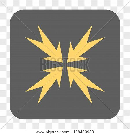 Compression Arrows interface toolbar button. Vector icon style is a flat symbol in a rounded square button yellow and gray colors chess transparent background.