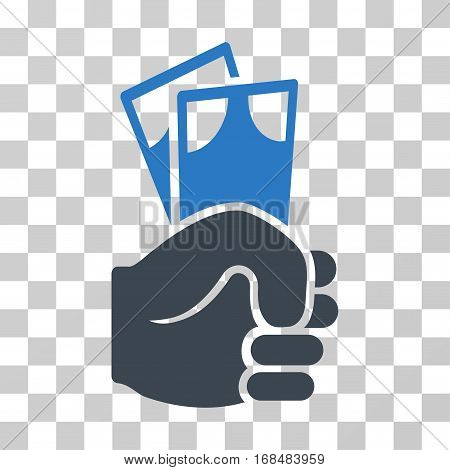 Banknotes Salary Hand icon. Vector illustration style is flat iconic bicolor symbol, smooth blue colors, transparent background. Designed for web and software interfaces.