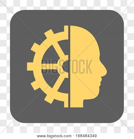 Cyborg Gear interface toolbar button. Vector icon style is a flat symbol inside a rounded square button yellow and gray colors chess transparent background.