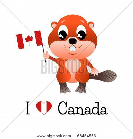 Beaver with canadian flag and the words I love Canada