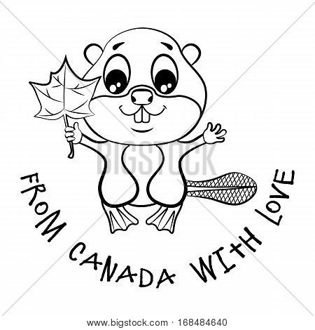 Beaver with a maple leaf in the paw and an inscription From Canada with love. Coloring