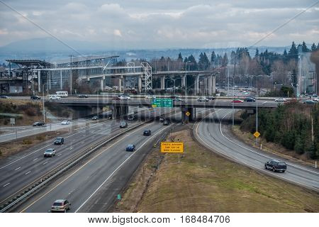 A view of the Tukwila Light Rail Station and the freeway.