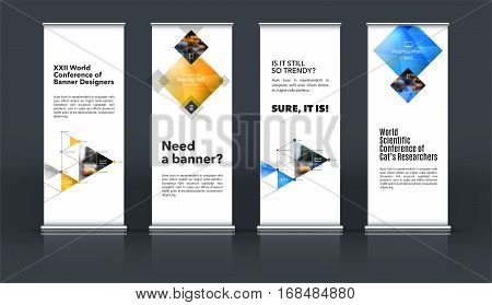 Mega set. Abstract business vector set of modern roll Up Banner stand design template with blue rectangles, triangles for exhibition, fair, show, exposition, expo, presentation, events.