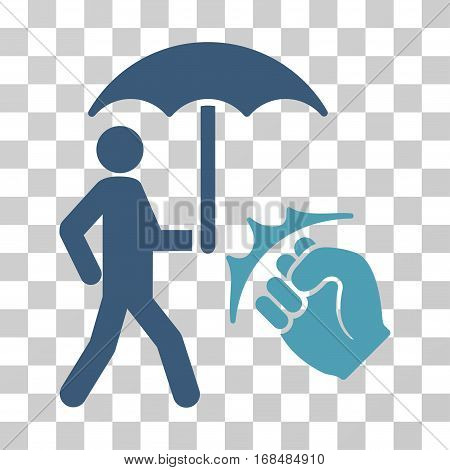 Crime Coverage icon. Vector illustration style is flat iconic bicolor symbol, cyan and blue colors, transparent background. Designed for web and software interfaces.