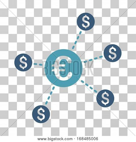Currency Network Nodes icon. Vector illustration style is flat iconic bicolor symbol, cyan and blue colors, transparent background. Designed for web and software interfaces.