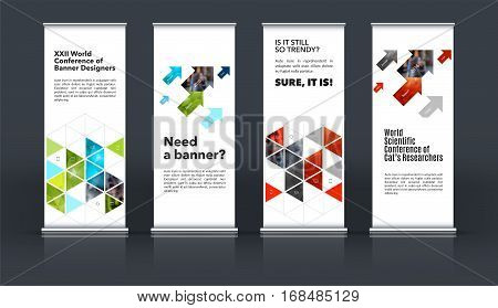 Mega set. Abstract business vector set of modern roll Up Banner stand design template with red rectangles, triangles for exhibition, fair, show, exposition, expo, presentation, events.