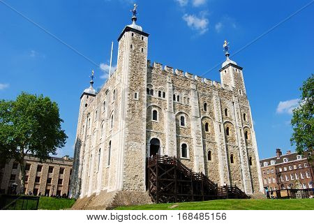 London, Great Britain - May 18, 2014. The White Tower at the n of London, with people.