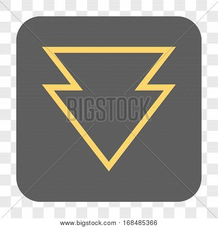 Direction Down interface toolbar button. Vector icon style is a flat symbol on a rounded square button yellow and gray colors chess transparent background.