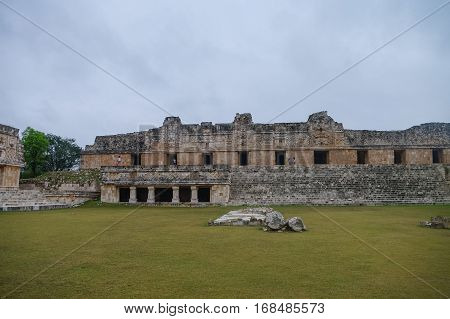 The Archaeological Area Uxmal, The Ruins Of The Palace. Mexico