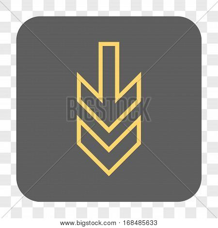 Direction Down interface toolbar button. Vector icon style is a flat symbol in a rounded square button yellow and gray colors chess transparent background.