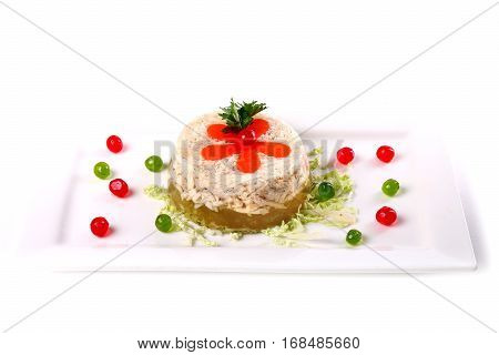 Aspic Decorated With Red And Green Balls