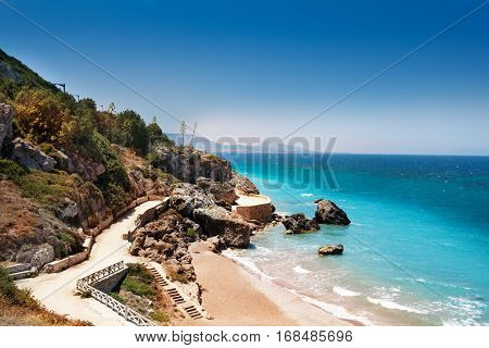 Beautiful view of Rhodes sandy beaches in summer, Greece, Europe