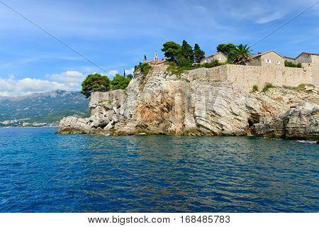 Sveti Stefan, small islet and resort near Budva, Montenegro. Balkans, Adriatic sea, Europe.